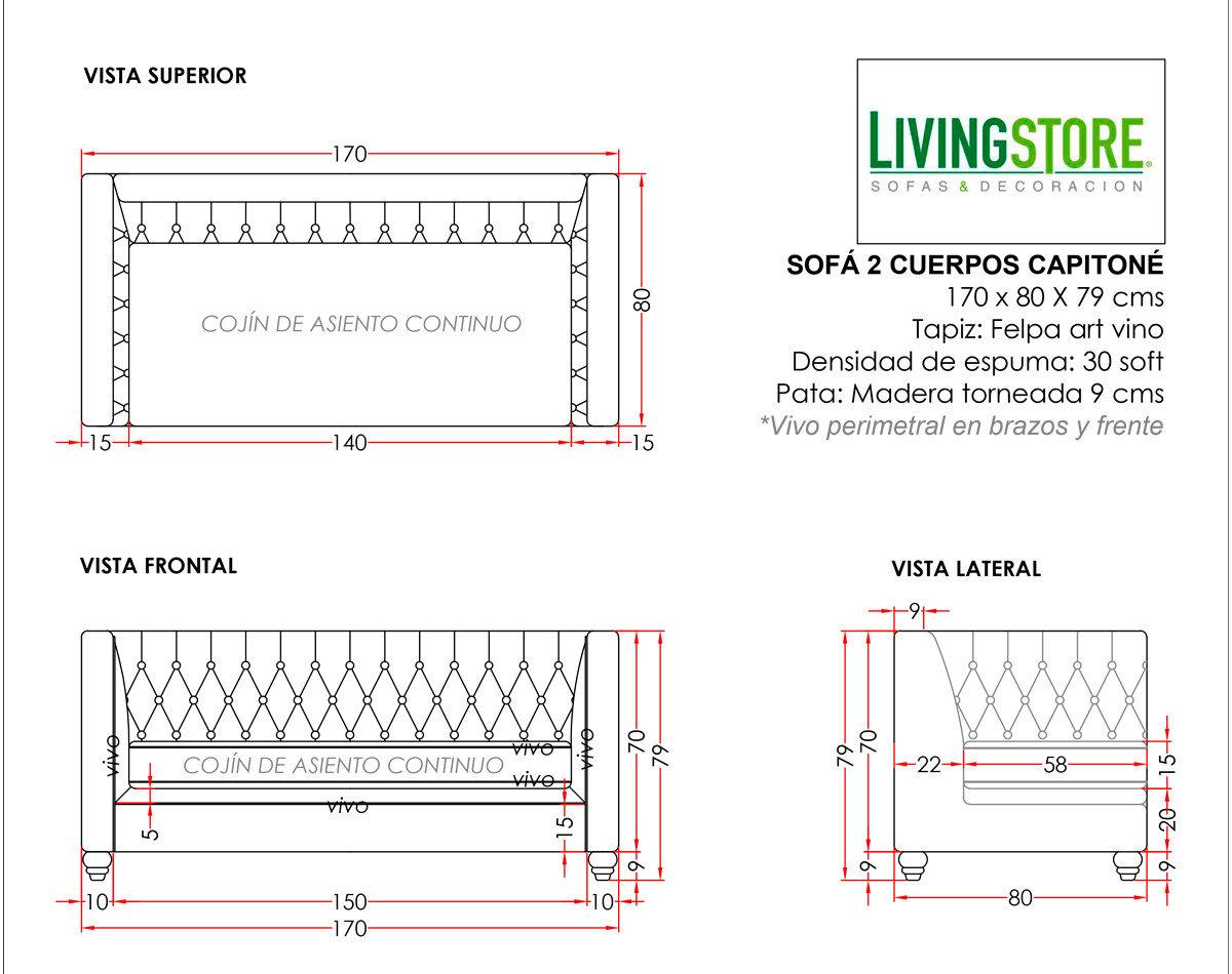 Sofa clasico chesterfield capitone Felpa Art Vino planimetria