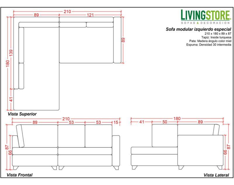 Planimetría para sofá modular