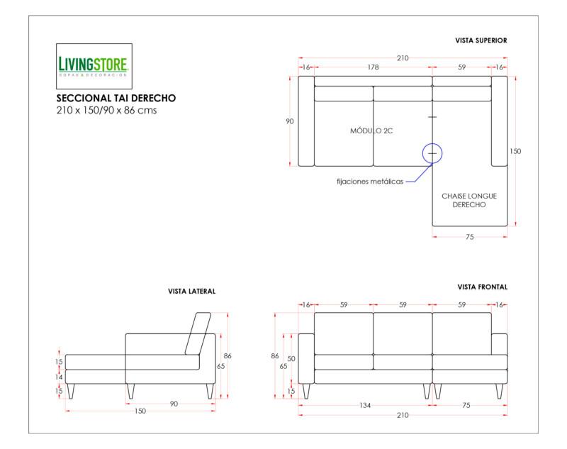 Sofa seccional Tai derecho planimetria