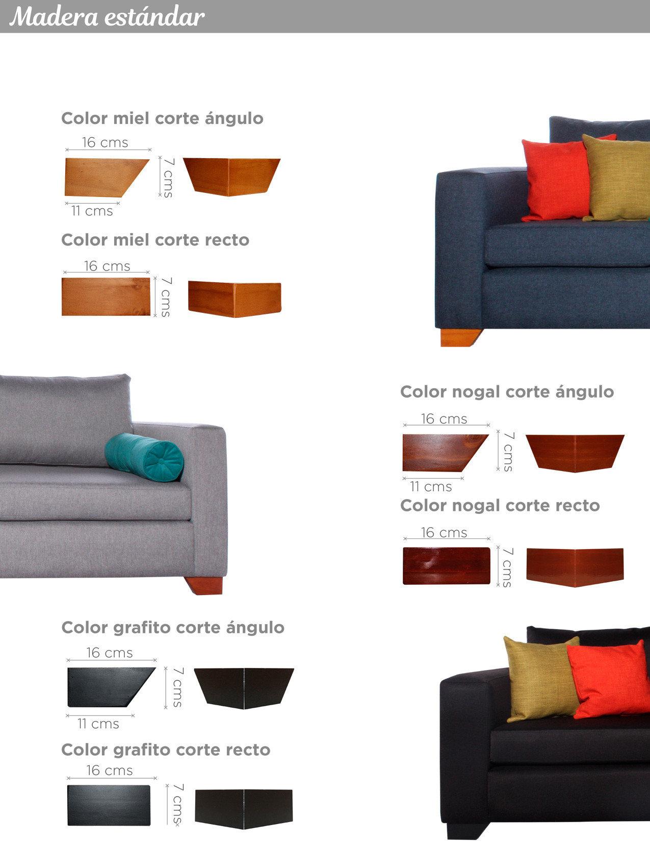 Patas de madera corte recto y ángulo colores miel, nogal y grafito para sofa