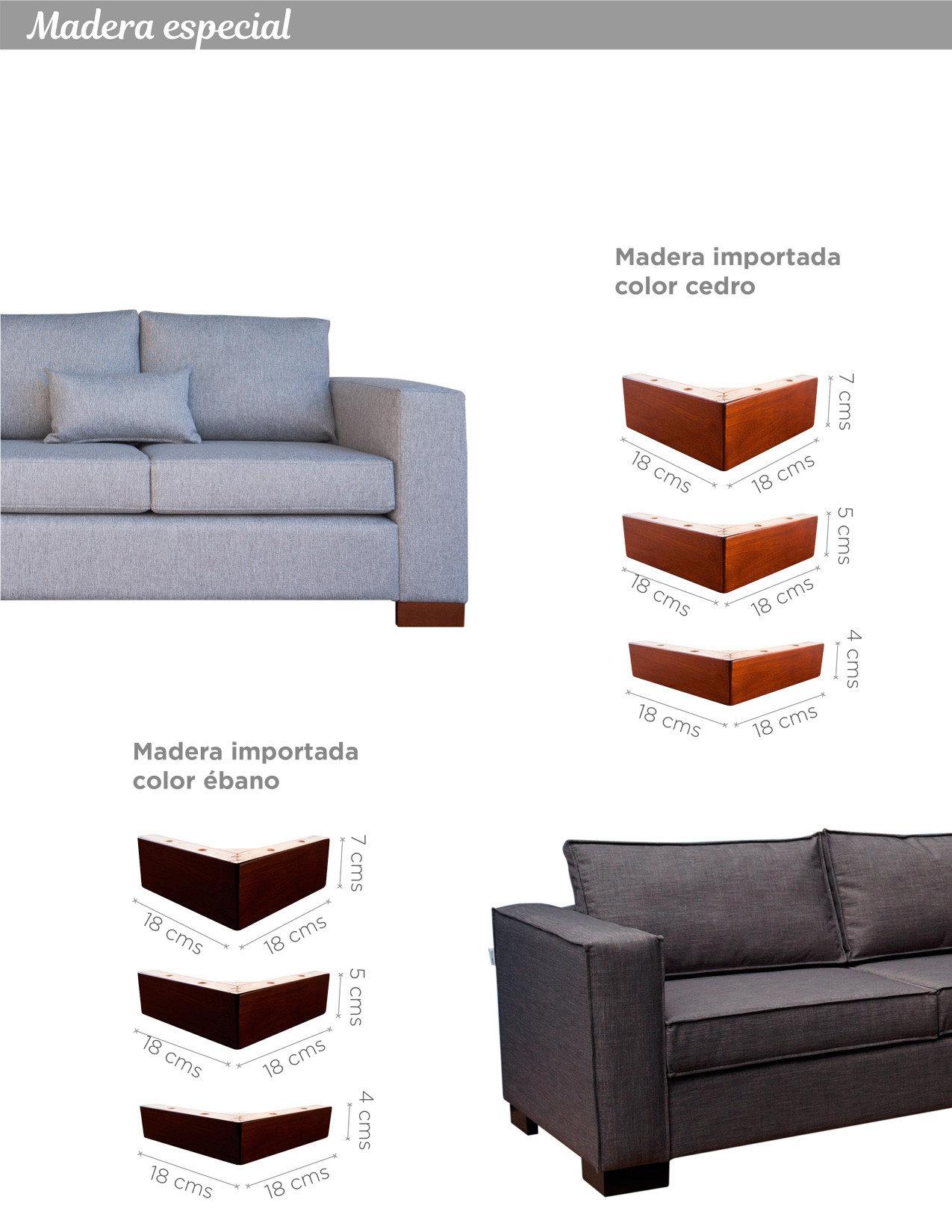 Patas de madera importadas 4, 5 y 7 cm altura colores cedro y ébano para sillones