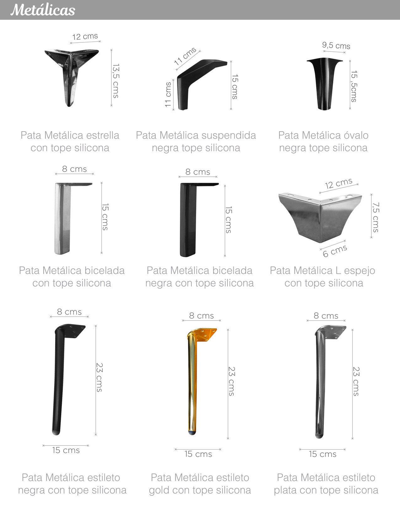 Patas metálicas óvalo, bicelada, estileto para sillon