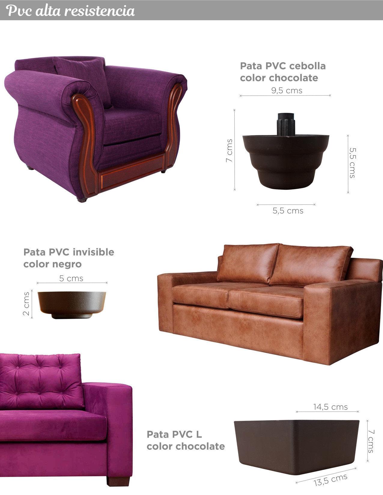 Patas en PVC modelos cebolla, invisible y L colores chocolate y negro para sillones y sofas