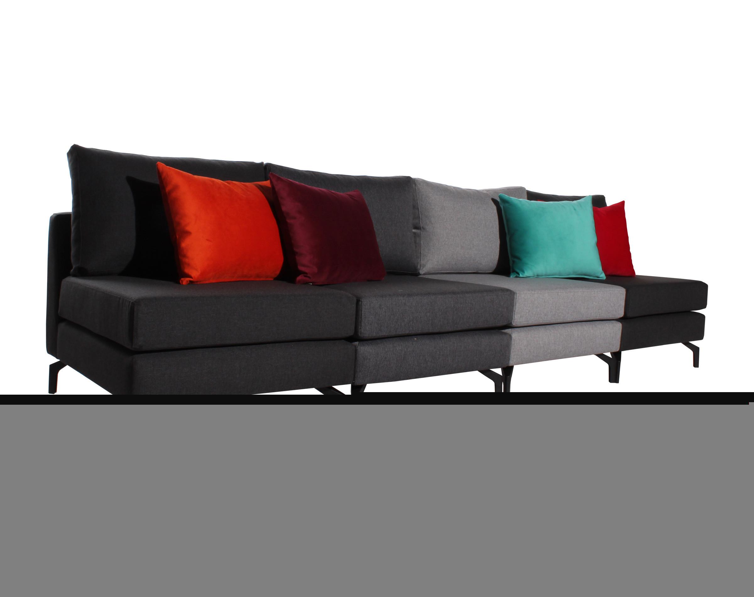 Sofa modular 4 cuerpos XSD con patas metalicas iso