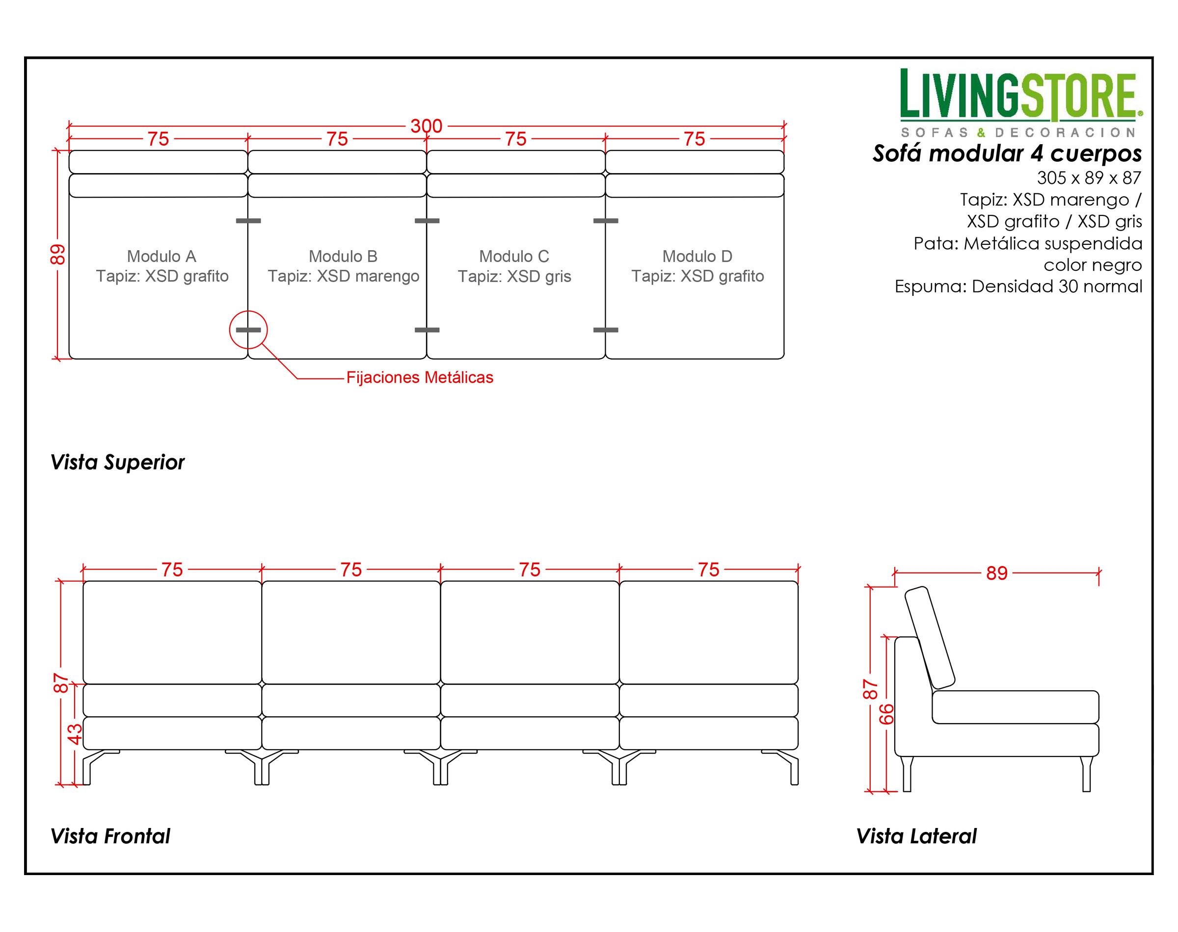 Sofa modular 4 cuerpos XSD con patas metalicas planimetria