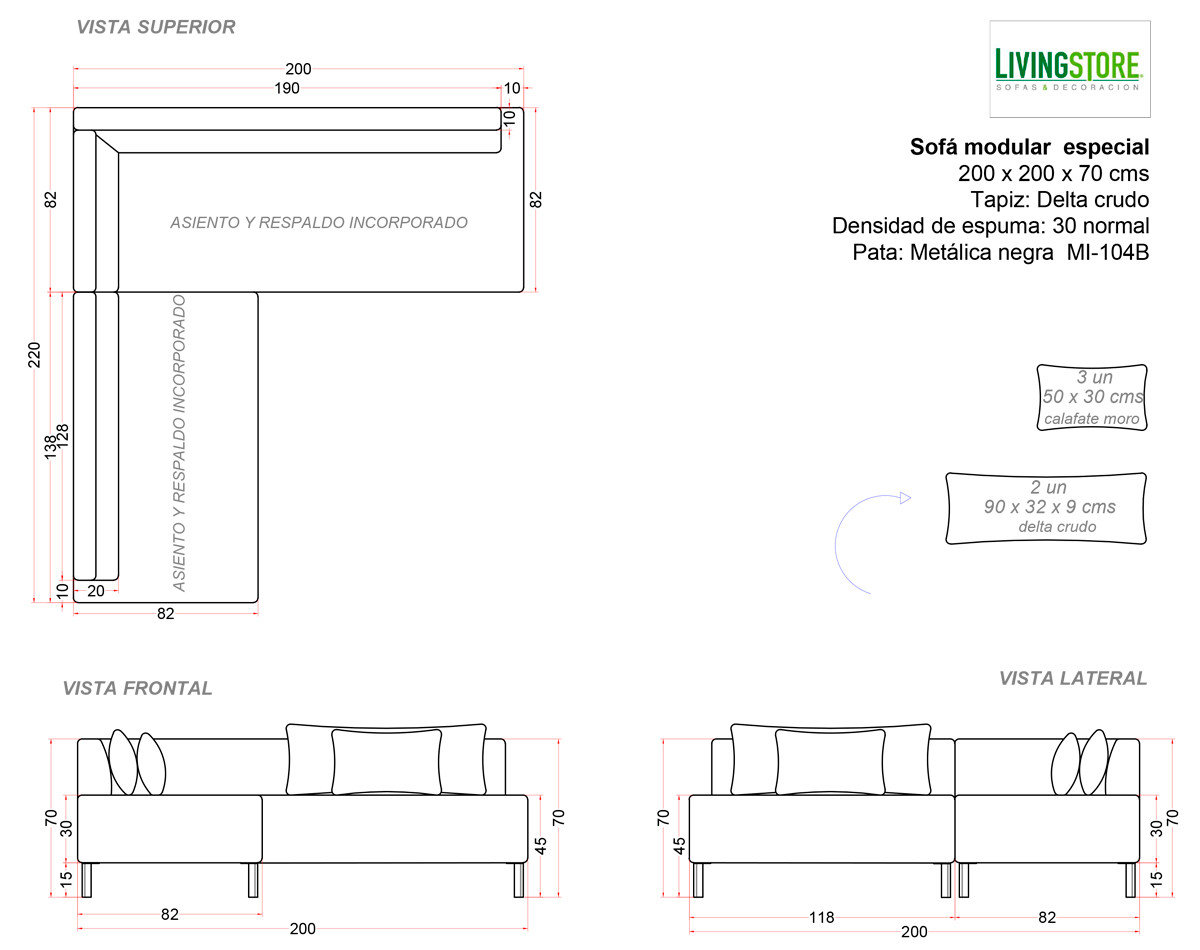 planimetria para sofa recepcion empresa