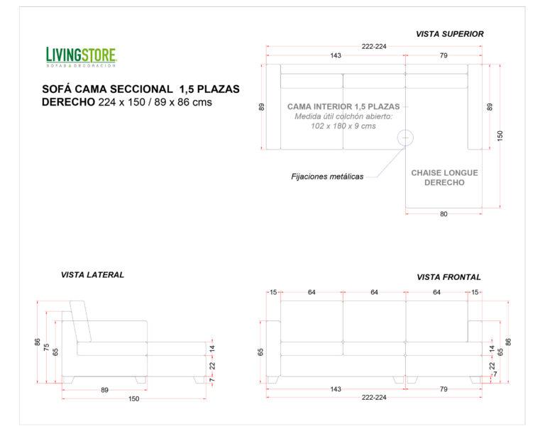Sofa Cama Seccional Derecho 1,5 Plazas