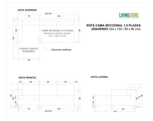 Sofa Cama Seccional Izquierdo 1,5 Plazas