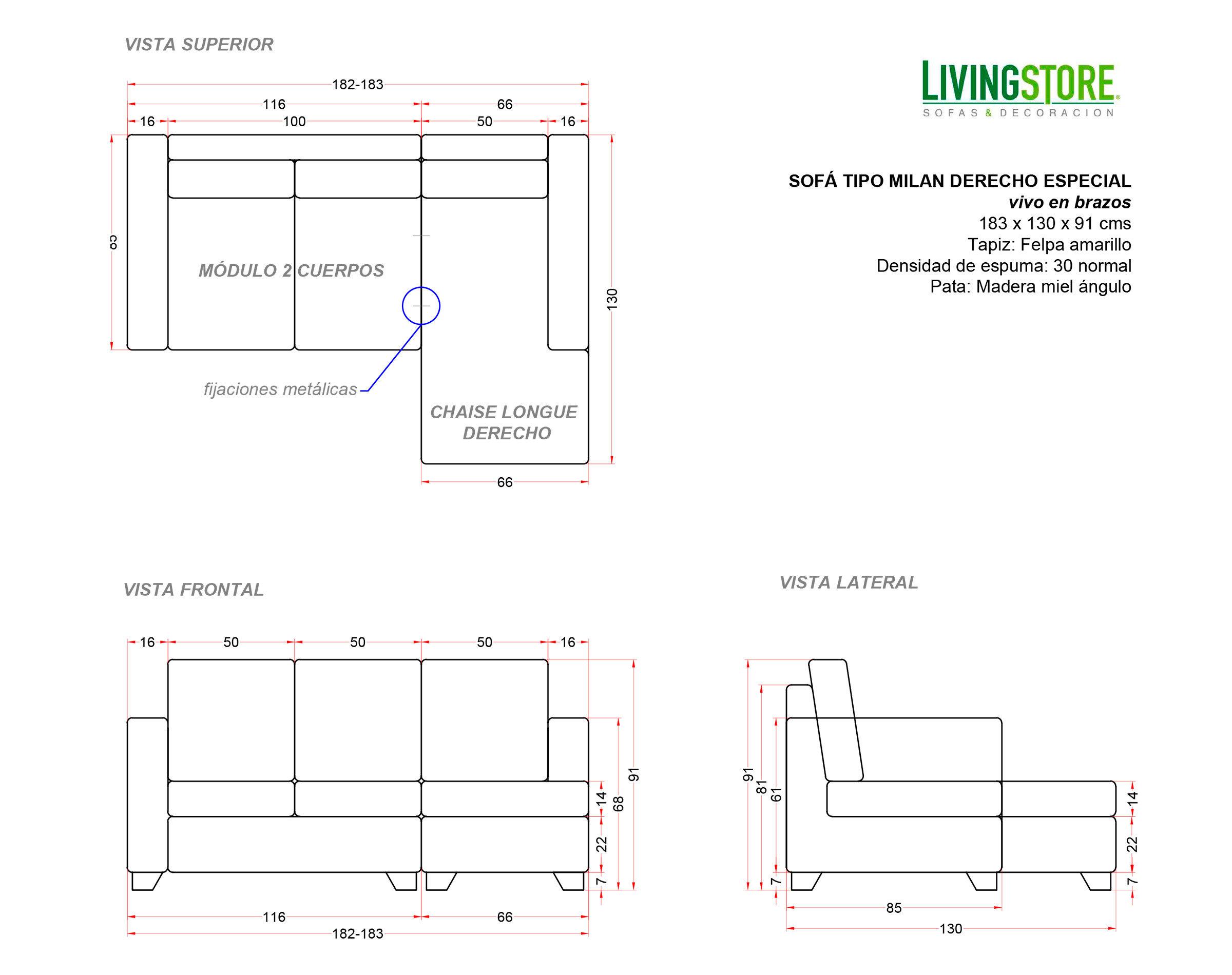planimetria de sofa seccional modular
