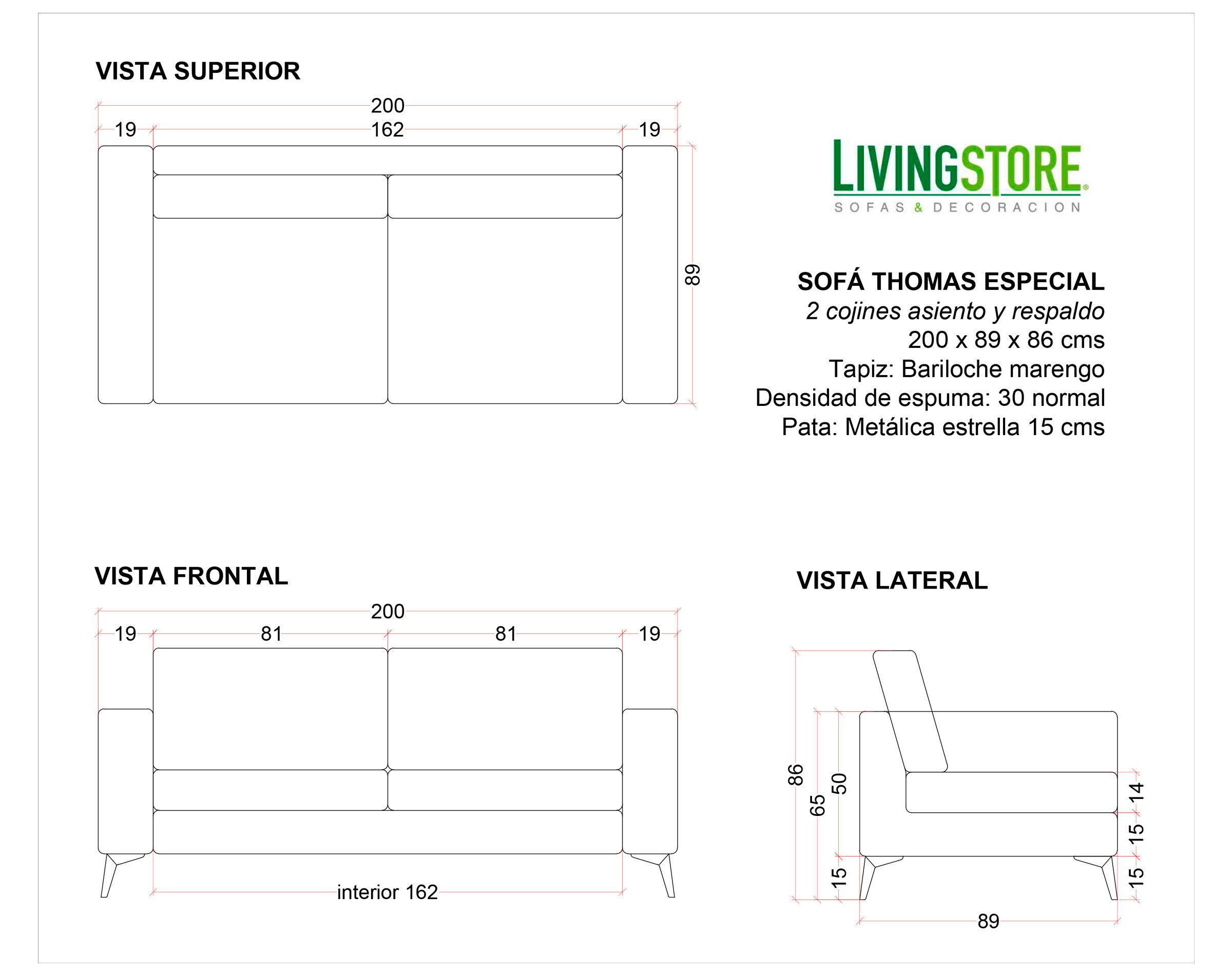 planimetria de sofá 200cm personalizado