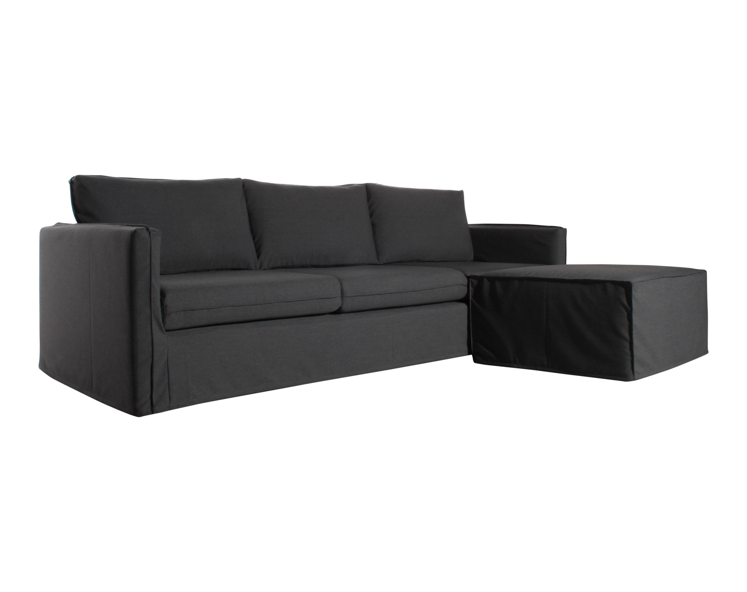 sofa color acero con chaise