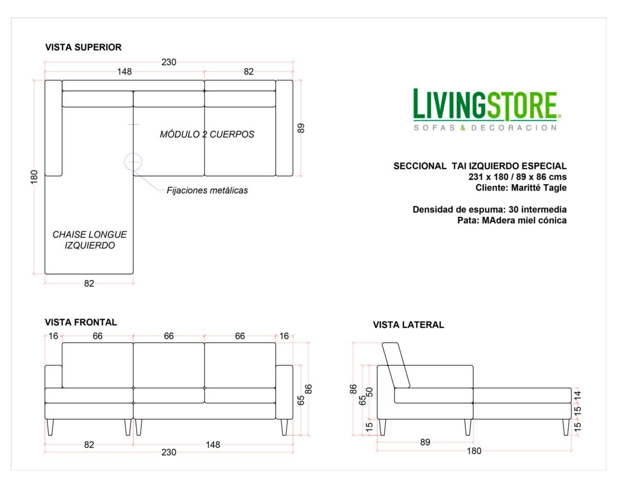 planimetria de sofa personalizado