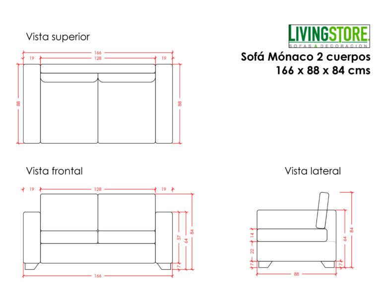 Sofa 2 Cuerpos Monaco Calafate Planimetria
