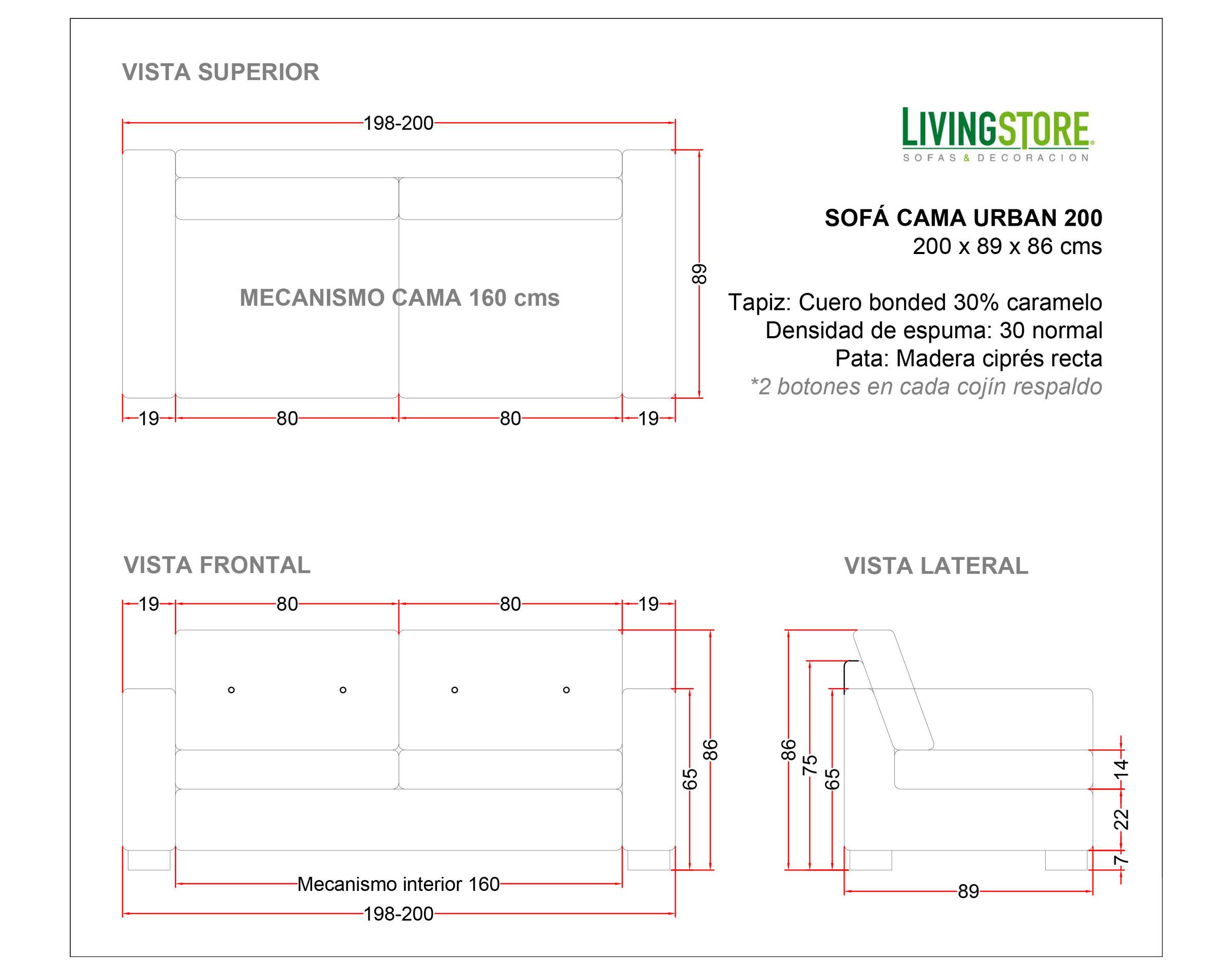 Planimetria Sofa 200 Cms Cuero Bonded