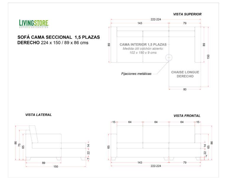 Sofa Cama Seccional Derecho 15 Plazas Pu Clean Planimetria