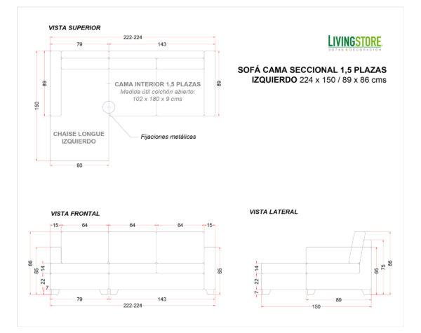 Sofa Cama Seccional Izquierdo 15 Plazas Planimetria