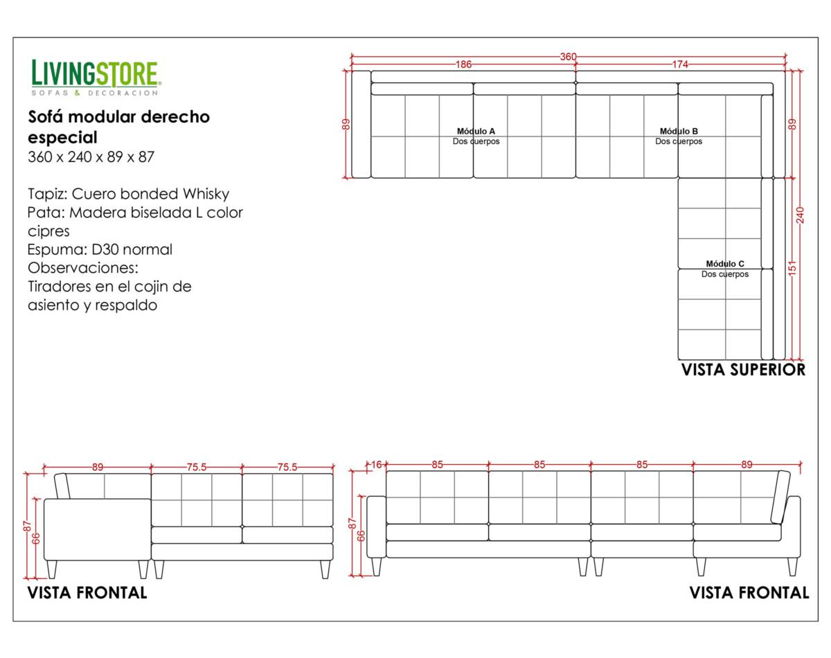 Sofa Modular Cuero Bonded Planimetria