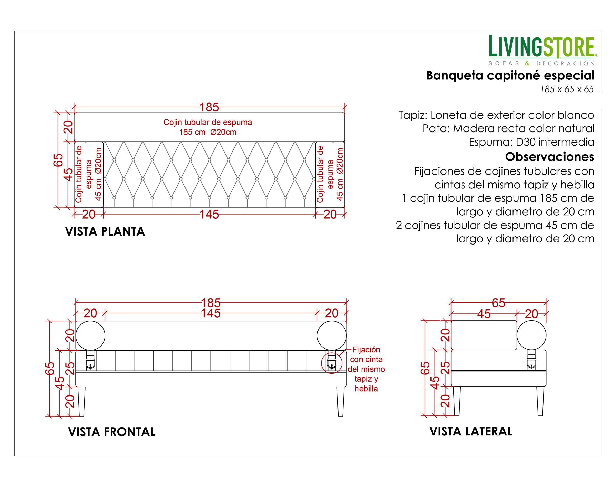 Sofá Capitone Loneta Blanco Planimetria