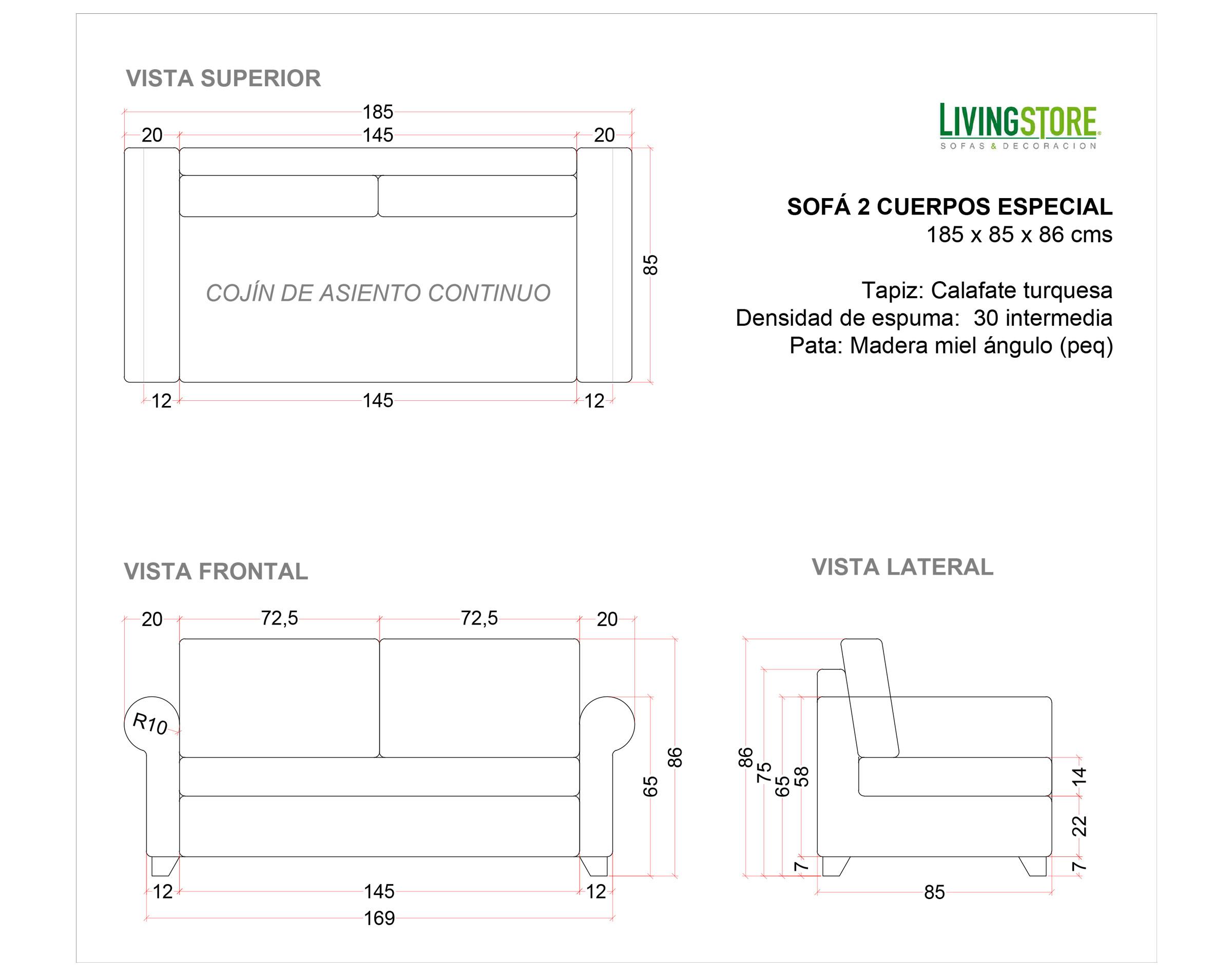 Sofa 2c Brazo Clasico Calafate Turquesa Planimetria