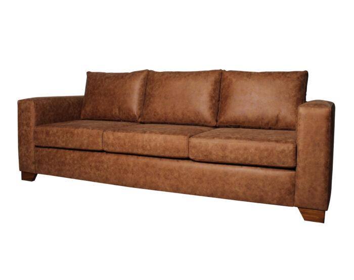 Sofa 3 Cuerpos Monaco Cuero Bonded 30 Color Caramelo 1