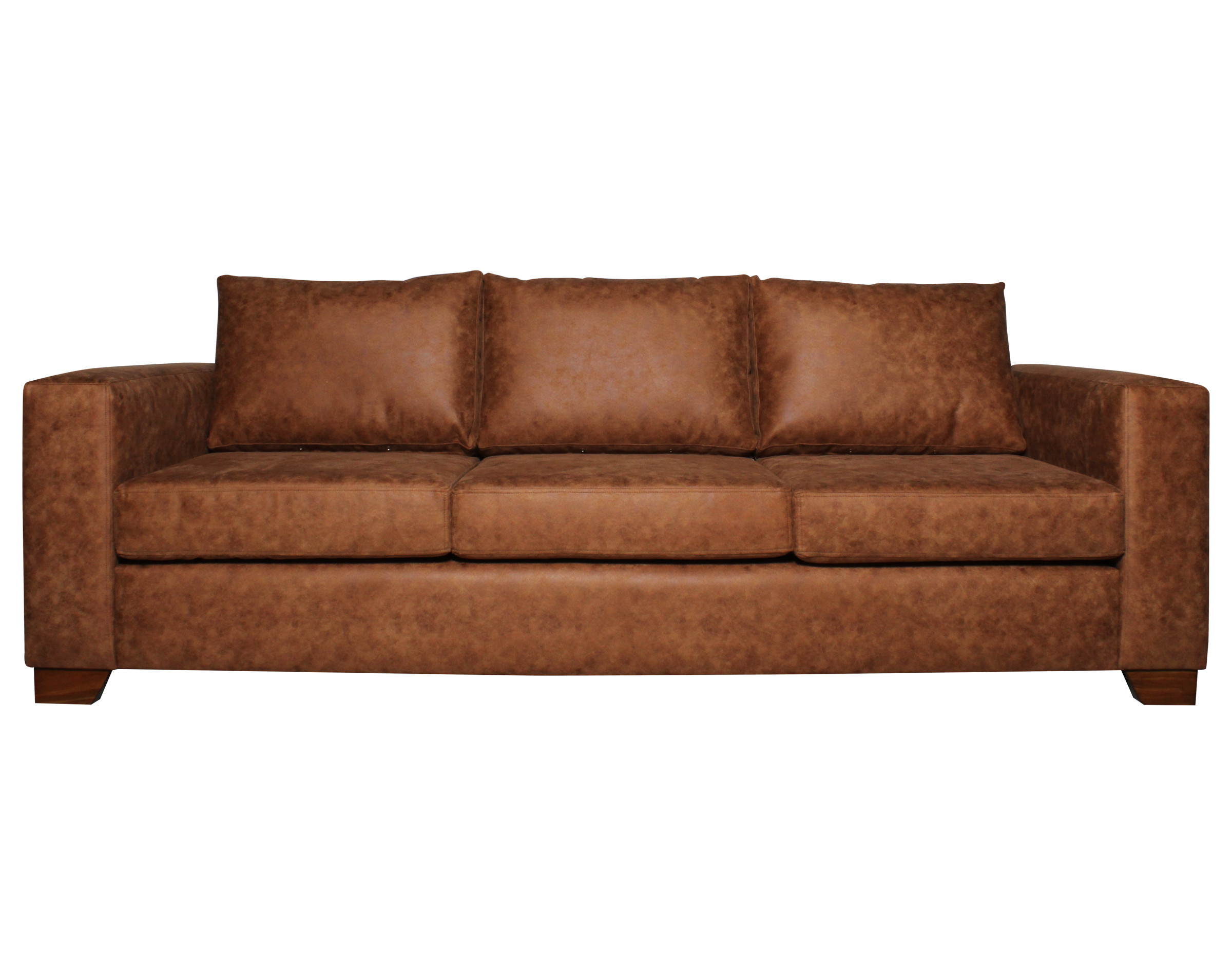 Sofa 3 Cuerpos Monaco Cuero Bonded 30 Color Caramelo