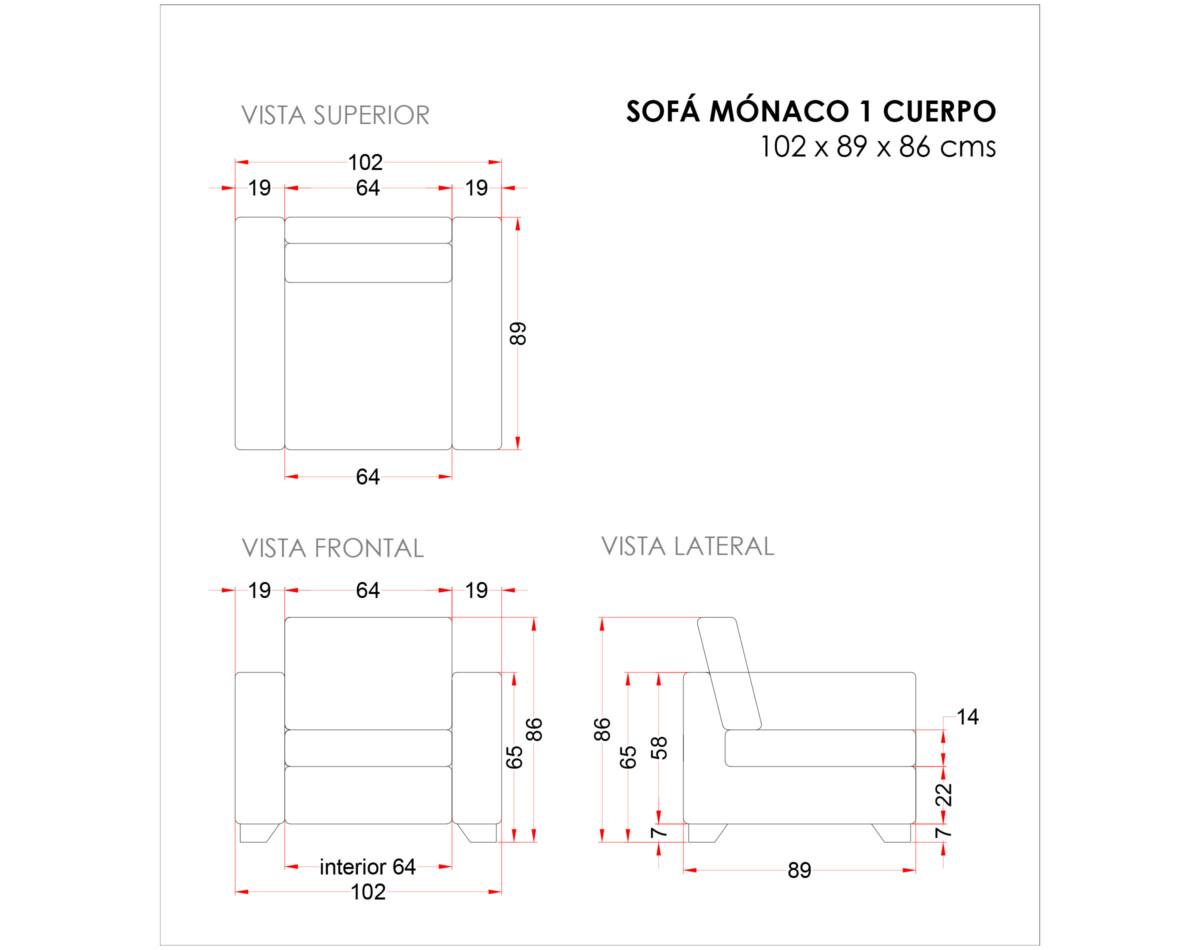 Sofa Monaco 1 Cuerpo