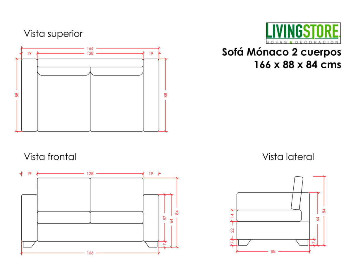 Sofa Monaco 2 Cuerpos