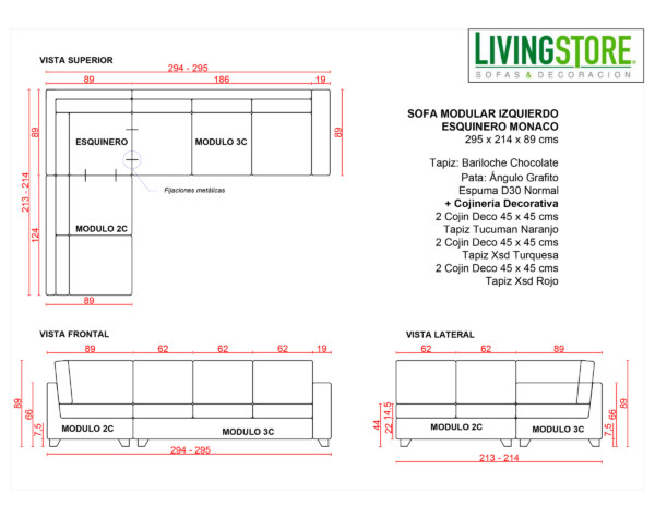 Planimetria Sofa Modular Bariloche