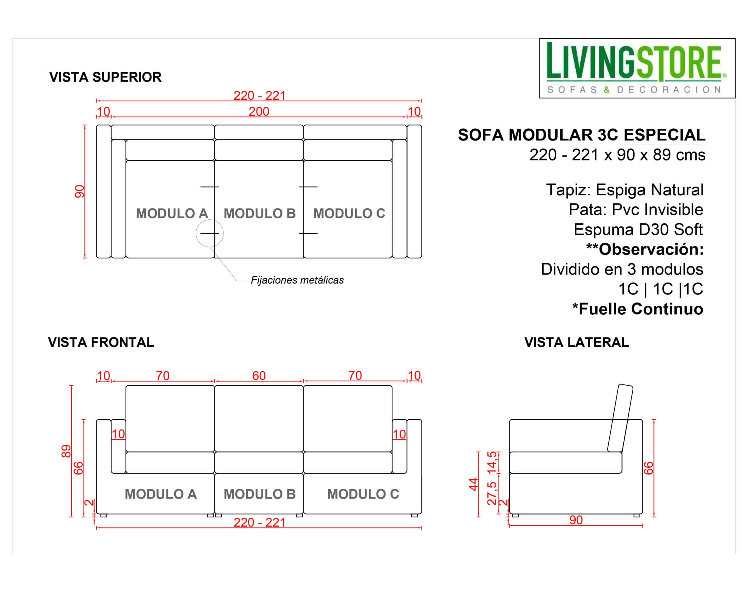 Planimetria Sofa Modular Espiga Natural