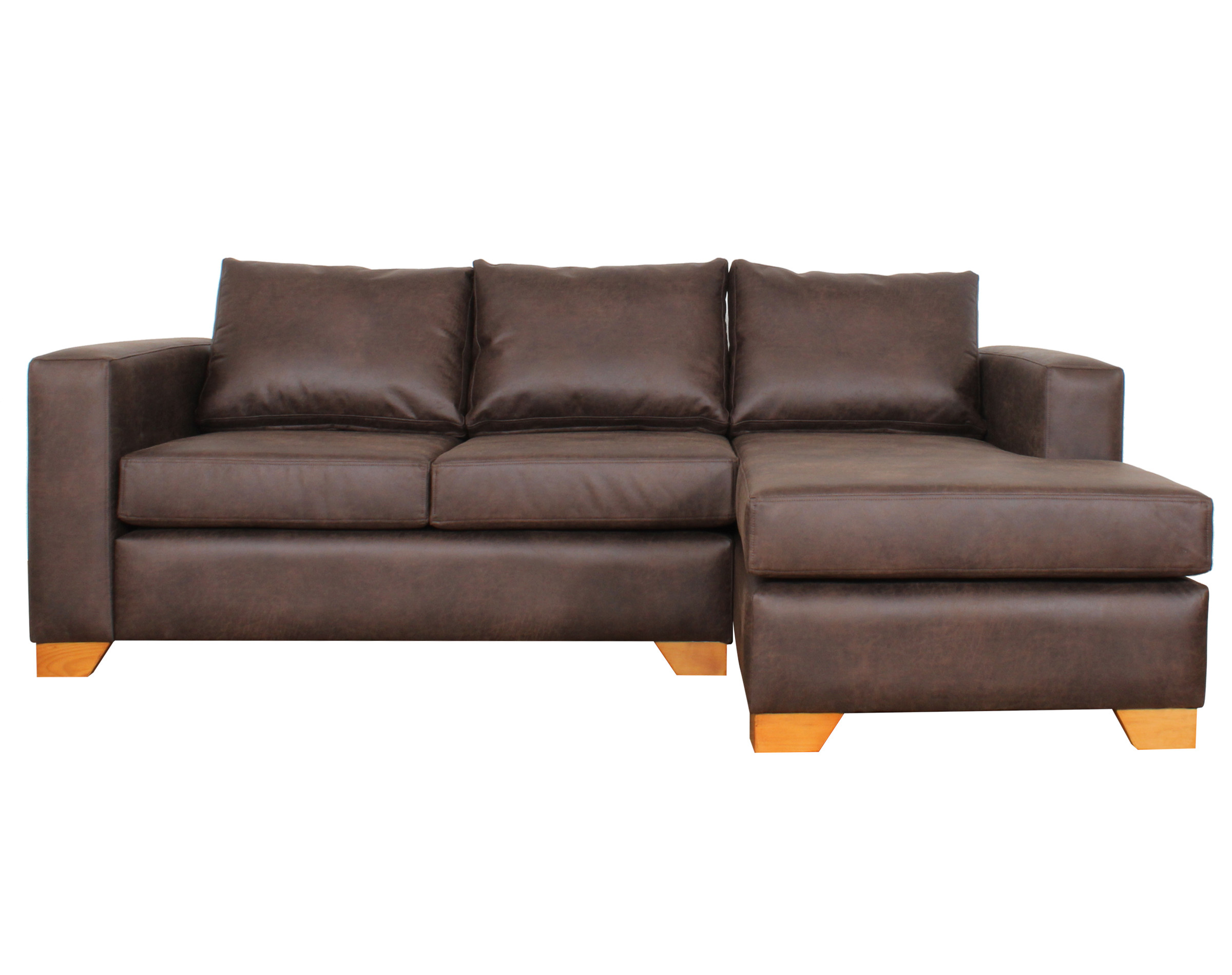 Sofa Seccional Der Cuero Bonded 70 Dk Brown