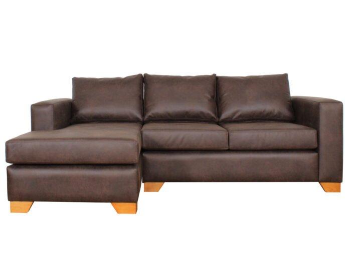 Sofa Seccional Izq Cuero Bonded 70 Dk Brown